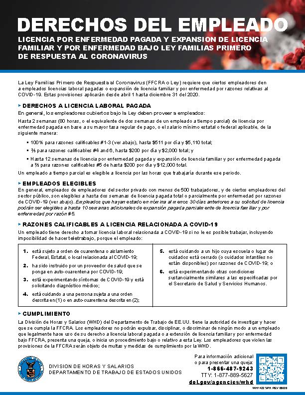 FFCRA Poster - Spanish